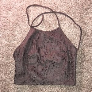 Guess snakeskin cropped halter top